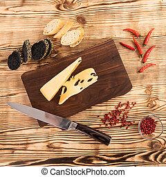 coupé, planche, saucisse, pain, fromage, bois, découpage