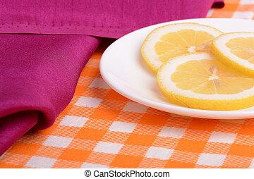 coupé, plaque, citron, mensonges, formé