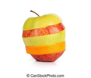 coupé, pomme verte, jaune, rouges