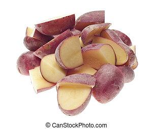 coupé, pommes terre, pile, rouges, bébé