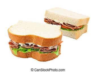 coupé, sandwich, boeuf, salade, pain
