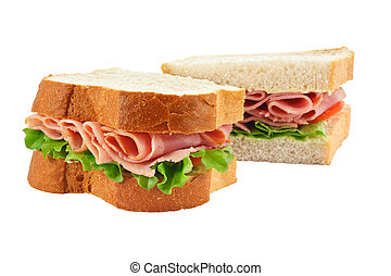 coupé, sandwich, jambon, salade, pain
