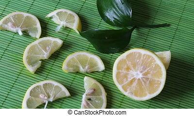 coupé, vert, citron, fond
