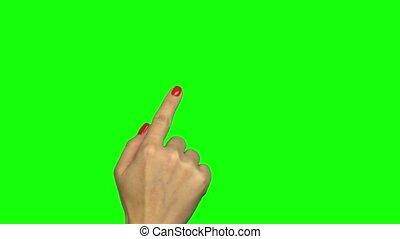 coup, écran, isolé, main, gestes, vert, femme, toucher