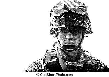 coup, armée, figure, soldat, studio, sale, équipé