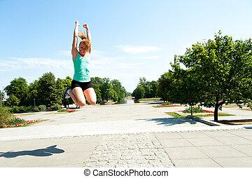 coup, athlète, ciel, sauter, bas, fond, angle
