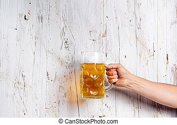 coup, bière, unrecognizable, tenue, studio, grande tasse, homme