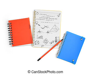 coup, bois, stationnaire, main, arrière-plan., cahier, studio, bureau, dessiné, doodles.
