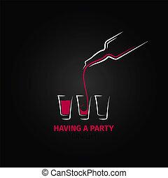 coup, bouteille, verre cocktail, conception, fond