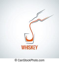 coup, bouteille, whisky, verre, éclaboussure, fond