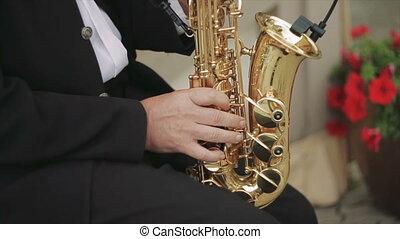 coup, côté, rue, saxophone, mâle, jouer