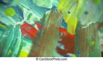 coup, coloré, peintures, étincelant, mélange, macro