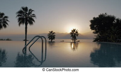 coup, coucher soleil, piscine, steadicam, ouvert, vide, natation