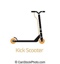 coup de pied, contour, symbole, logo, illustration, scooter, bw