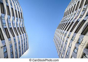 coup, extérieur, angle, appartements, nouveau, large, bâtiments