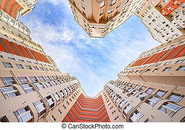 coup, extérieur, angle, bâtiments, nouveau, appartements, large