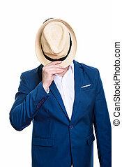 coup, face couverture, studio, mûrir, homme affaires, chapeau