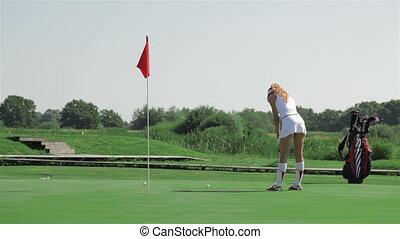 coup, femme, golf, trou, balle