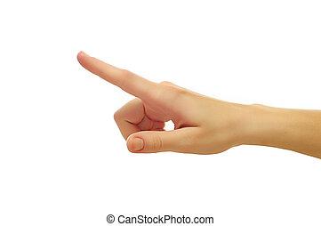 coup, femme, poussée bouton, isolé, haut, somethimg, toucher, doigt, fond, fin, blanc, main, ou