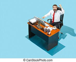 coup, fonctionnement, business, laptop., au-dessus, élégant, homme