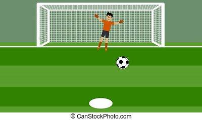coup, football, pénalité, coups pied, plusieurs, goal