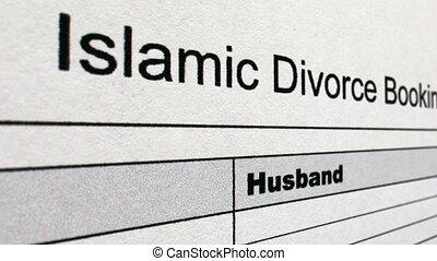 coup, formulaire, divorce, islamique, chariot