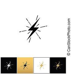 coup foudre, électrique, signe, vecteur, boulon, grève, éclair, ou, icône