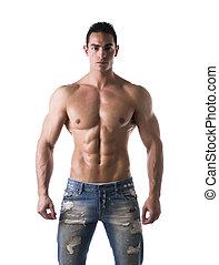 coup, frontal, sans chemise, jean, jeune, musculaire, homme