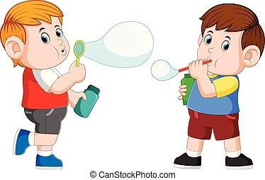 coup, garçon, il, bulle savon, jouer