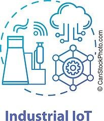 coup, idée, internet., icon., contour, automatization, intelligent, technologies., editable, industry., drawing., fabrication, ligne, mince, iot, vecteur, concept, illustration., isolé, industriel, moderne