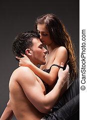 coup, image, dramatique, mode, couple