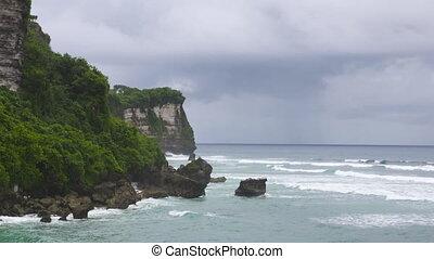 coup, large, indonésie, côte, falaises