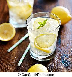 coup, limonade, deux, haut fin, lunettes