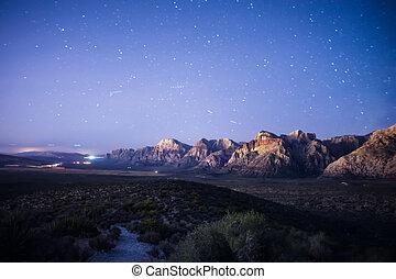 coup, long, canyon, vegas, coucher soleil, rocher, exposition, rouges, las