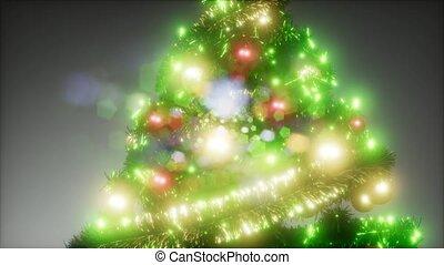 coup, lumières, studio, coloré, joyeux, arbre noël