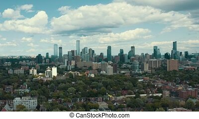 coup, métropolitain, résidentiel, establishing, grand, city., aérien, secteurs