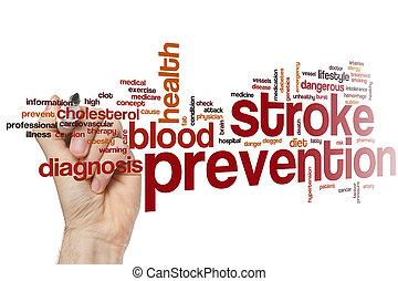 coup, mot, prévention, nuage