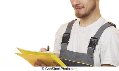 coup, ouvrier industrie, tondu, presse-papiers, confection, sourire, notes