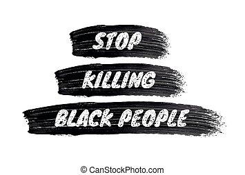 coup pinceau, gens, signe, meurtre, arrière-plan., noir, ...