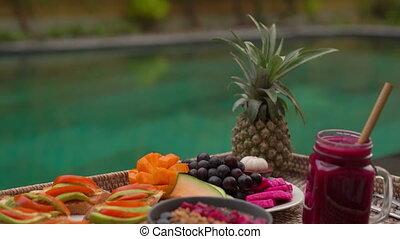 coup, pool., personnel, privé, exotique, closeup, table, style de vie, petit déjeuner, plage, flotter, natation