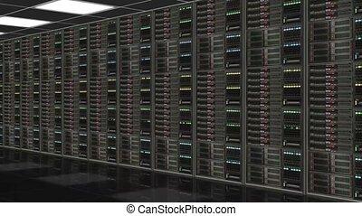 coup, réseau, serveurs, appareil photo, long, rang