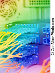coup, réseau, technologie, câbles, serveurs, centre calculs