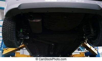 coup, service, fonctionnement, fond, automobile, -, glisseur, emballage, mécanicien, sous, appareil, voiture