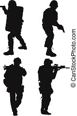 coup, silhouette, police