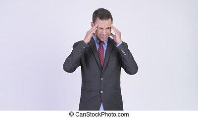 coup, studio, homme affaires accentué, avoir, mal tête