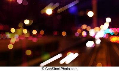 coup, timelpase, résumé, foyer, barcelone, trafic, nuit, panoramique, espagne, dehors