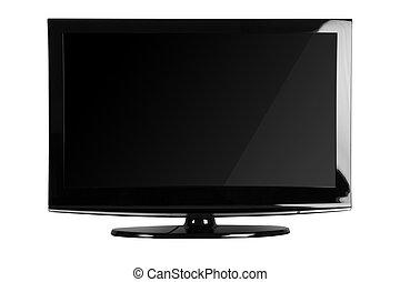coup, tv, isoler, /, lcd, fond, devant, blanc, plasma