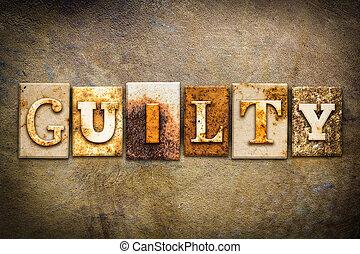 coupable, concept, letterpress, cuir, thème