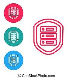 coupe-feu, isolé, commutateur, attacks., serveur, data., buttons., illustration, arrière-plan., vecteur, rouges, protection, réseau, cercle, bouclier, ensemble, ligne, icônes, routeur, blanc, contre, icône