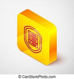 coupe-feu, isolé, icône, gris, button., illustration, ligne, contre, carrée, routeur, bouclier, commutateur, attacks., serveur, protection, vecteur, jaune, data., isométrique, réseau, arrière-plan.